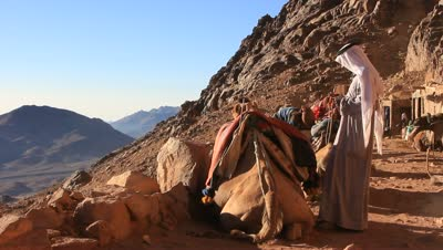 stock-footage-egypt-sinai-september-bedouins-and-camels-on-moses-mountain-mount-sinai-horeb-that-is